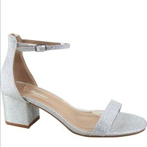 New Women's Silver Ankle Strap Chunky Heels Shoes